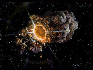 渦状星雲NGC2997に向かうラムジェット宇宙船